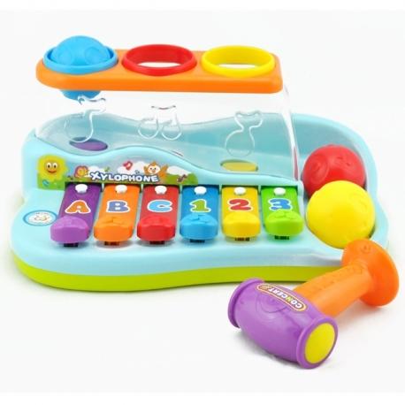 Vaikiškas metalofonas su plaktuku ir kamuoliukais