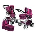 Vaikiškas vežimėlis lėlėms (spalva - pink rings)