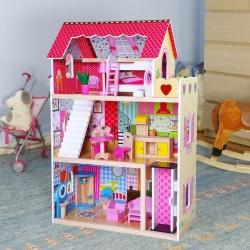 Medinis lėlių namas su baldais
