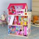 Medinis lėlių namas su baldais ir liftu