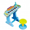 Vaikiškas pianinas su kedute ir mikrofonu Blue
