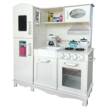 Vaikiška medinė virtuvėlė su šaldytuvu