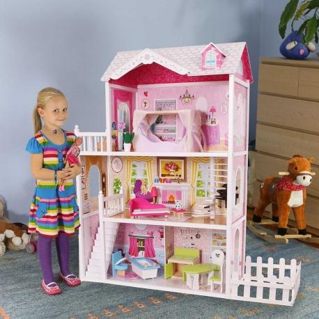 Didelis medinis lėlių namas su darželiu + DOVANA