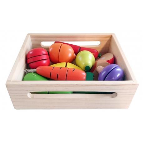 Medinis pjaustomų vaisių ir daržovių rinkinys dėžutėje