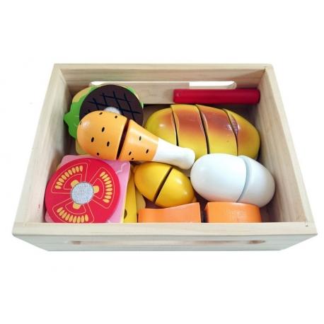 Medinis pjaustomų maisto produktų rinkinys dėžutėje