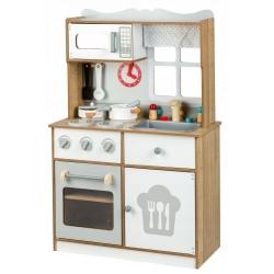 Medinė virtuvėlė su indais