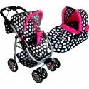 Vaikiškas vežimėlis lėlėms Belly White Dots