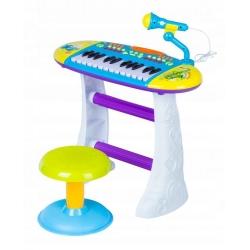 Vaikiškas pianinas su kėdute ir mikrofonu