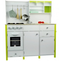Medinė virtuvėlė su aksesuarais White-Green