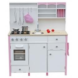 Medinė virtuvėlė su aksesuarais White-Pink