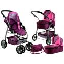 Vaikiškas vežimėlis lėlėms Belly (spalva - pink rings)