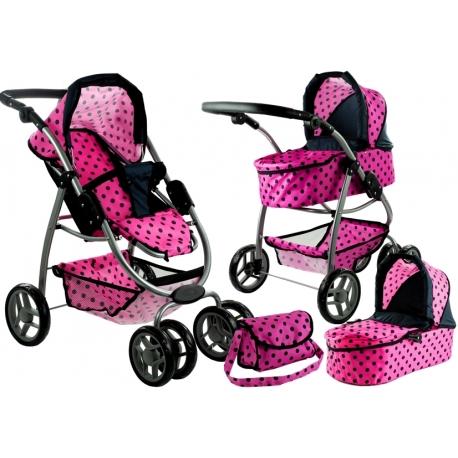Vaikiškas vežimėlis lėlėms Belly Pink Dots