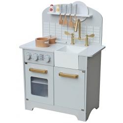 Medinė virtuvėlė Deluxe White su aksesuarais