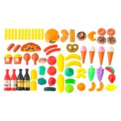 Plastikinis žaislinis maisto prekių rinkinys 90 vnt.