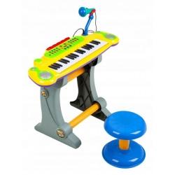Vaikiškas pianinas su kedute ir mikrofonu Multi Yellow