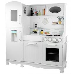 Vaikiška medinė virtuvėlė su šaldytuvu Retro White