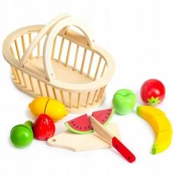 Medinis pjaustomų vaisių rinkinys su krepšeliu