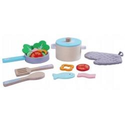 Vaikiškų medinių indų rinkinys su produktais