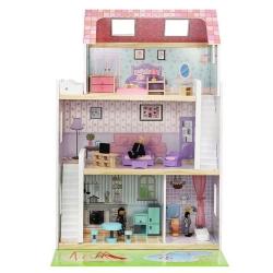 Medinis lelių namas su baldais ir lėlėmis