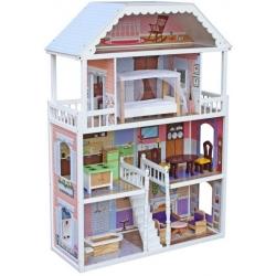 Medinis didelis lėlių namas Clara su palėpe
