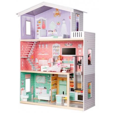 Medinis didelis lėlių namas Violet su liftu + DOVANA