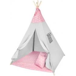 Palapinė Tipi su pagalvėlėmis Pink Stars