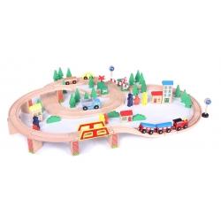 Medinė trasa su traukinuku (75 detalės)