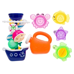 Vonios žaislas Vandens bokštas su indeliais