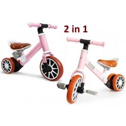Universalūs dviratukas 2in1 su papildomais pedalais Luxury Pink