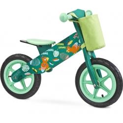Medinis balansinis dviratis ZAP Green su krepšeliu
