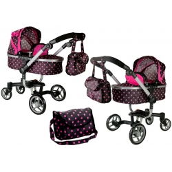 Lėlių vežimėlis Banna Dots 2in1