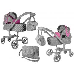 Lėlių vežimėlis Banna Pink-Grey 2in1