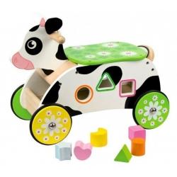 Medinė mašinytė - paspirtukas Bigjigs Cow