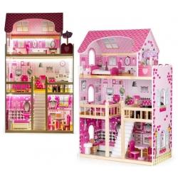 Medinis lėlių namas su baldais ir LED apšvietimu