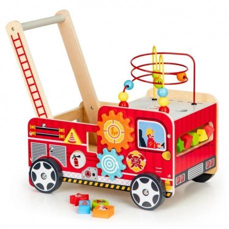 Medinė vaikiška gaisrinė su kaladėlėmis