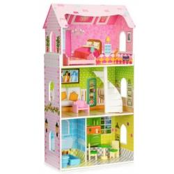 Medinis lėlių namas su baldais Mint