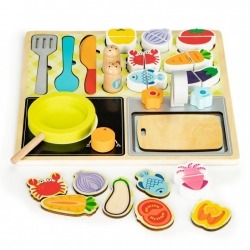 Medinė mini virtuvėlė su priedais