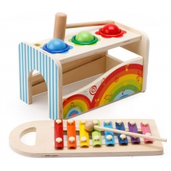 Medinis metalofonas su plaktuku ir kamuoliukais Rainbow