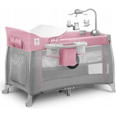 Maniežas  - kelioninė lovytė Thomi Pink Baby su priedais