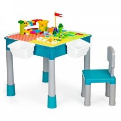 Dvipusis stalas su kėdutė ir kaladėlėmis