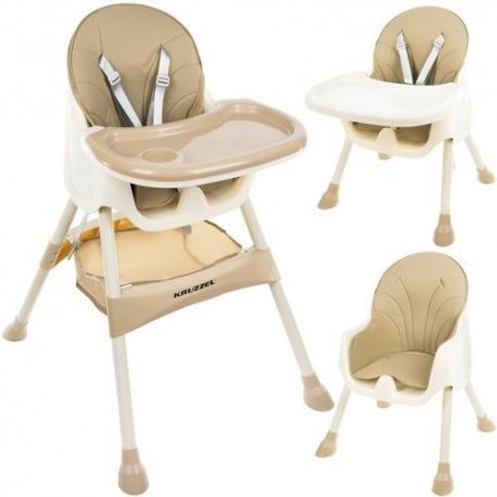 Funkcionali maitinimo kėdutė Kruz Beige 2in1 su krepšiu