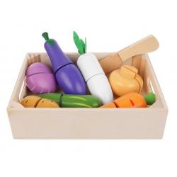 Medinis pjaustomų daržovių rinkinys dėžutėje