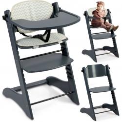 Medinė maitinimo kėdutė Luna Deluxe Grey