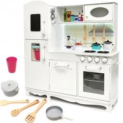 Vaikiška medinė virtuvėlė su šaldytuvu + apšvietimas