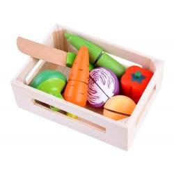 6 vnt. medinis pjaustomų daržovių rinkinys dėžutėje