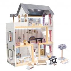 Medinis lėlių namas Grey 78 cm. aukščio su LED apšvietimu