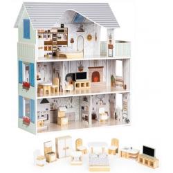 Medinis lelių namas Emma su baldais