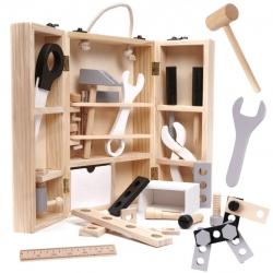 Meistro dėžutė su mediniais įrankiais