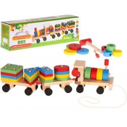 Medinis tempiamas traukinukas-dėlionė
