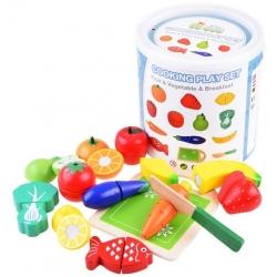 Žaisliniai pjaustomi vaisiai ir daržovės kibirėlyje